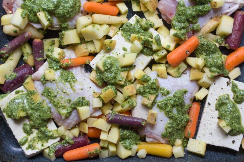 Eat This chicken, tofu, pesto, carrots, potatoes