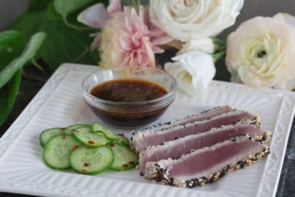 Sesame crusted tuna & Pickled cucumbers no scallions