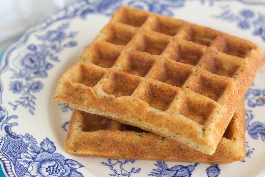 Monash University Certified Low FODMAP lemon poppy seed waffles