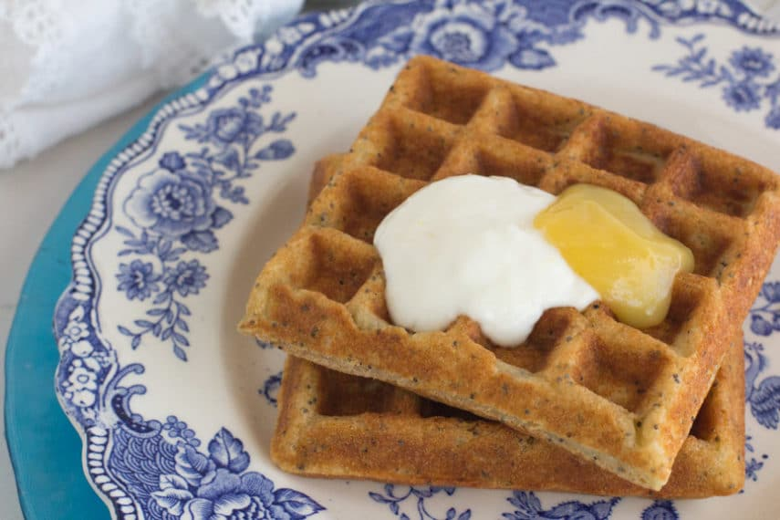 Monash University Certified Low FODMAP lemon poppy seed waffles with lemon curd and lemon yogurt cream