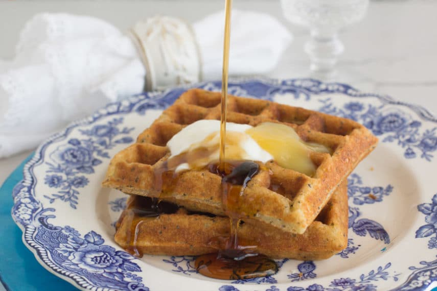 Monash University Certified Low FODMAP lemon poppy seed waffles with syrup, lemon curd and lemon yogurt cream