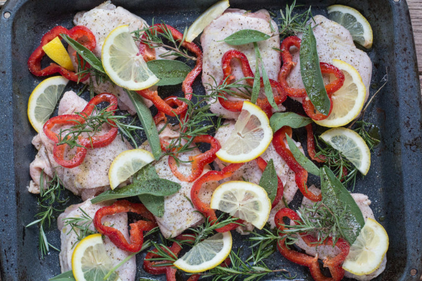 what to eat chicken, lemon and fresh herbs