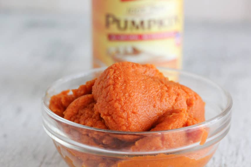 canned pumpkin in dish