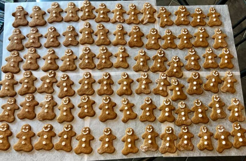 gingerbread cookies on white paper