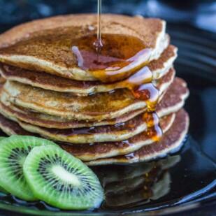 3 Seed dairy-free gluten-free Pancakes closeup