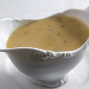 Make ahead gravy in gravy boat