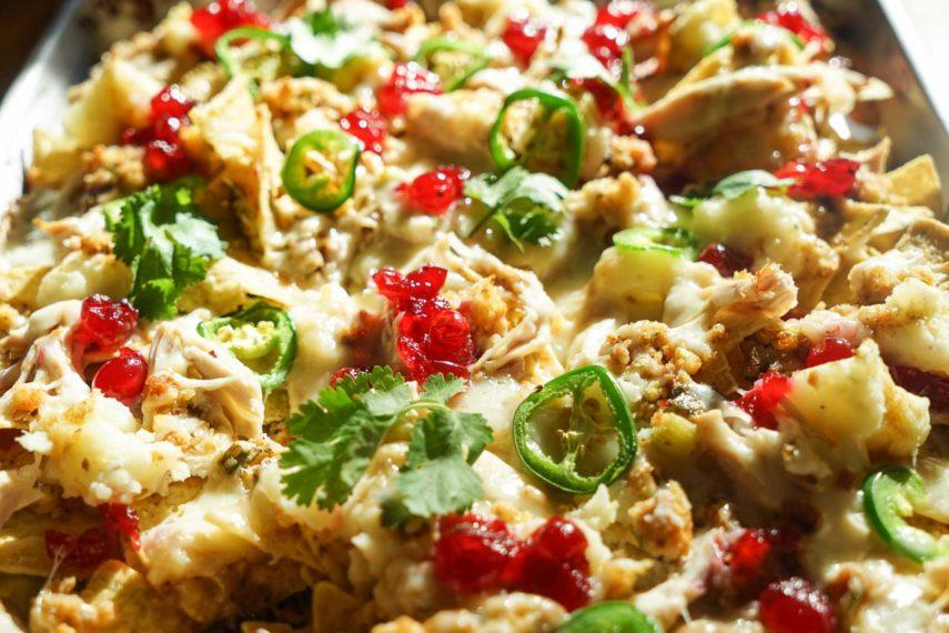 Thanksgiving nachos with cilantro