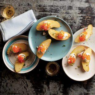 Trout Roe on Tiny Potatoes with Lemon Zest & Sea Salt