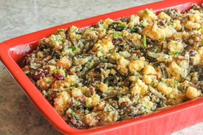 cornbread wild rice stuffing in a red casserole