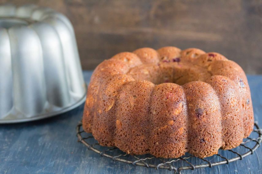 Cranberry Almond Buttermilk Bundt Cake unmolded and unglazed