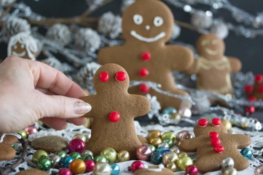 gingerbread man with red hot candy eyes