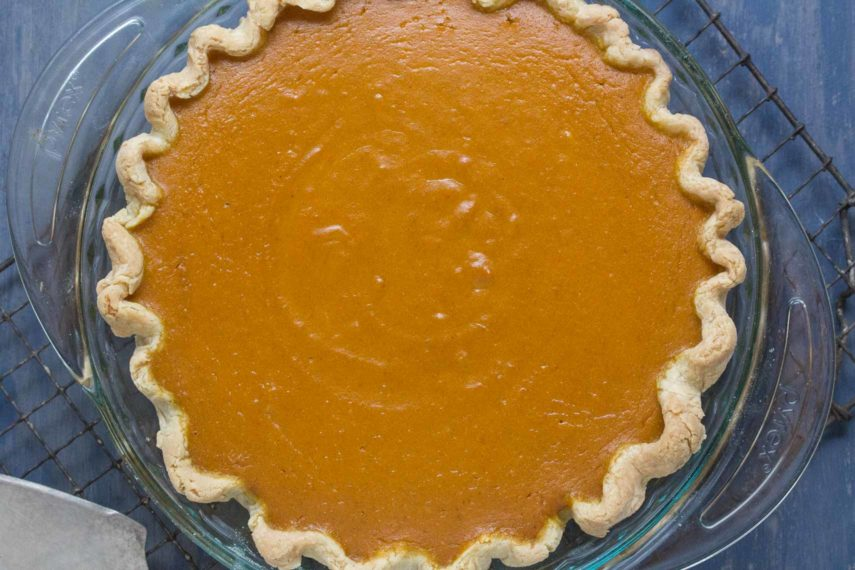 pumpkin pie sweetened with maple and enhanced with fresh lemon zest and fresh ginger
