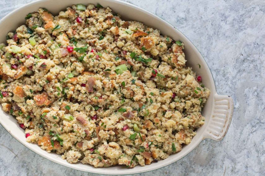Cornbread Bacon Stuffing with Leeks, Pecans & Pomegranate ...