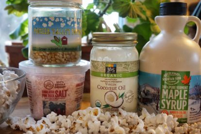 Sweet and Salty Popcorn made with coconut oil, maple syrup and pink Himalayan salt.