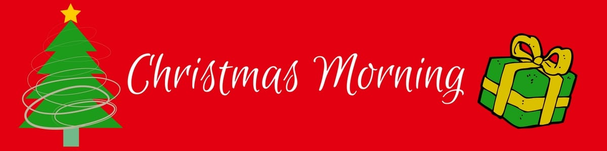 Red banner with Christmas tree and present