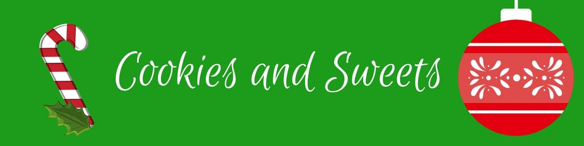 Green header with candy cane and Christmas ornament