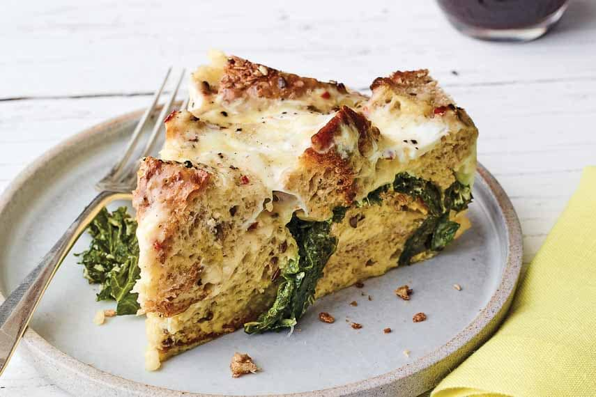 Grainy Bread Strata with Kale and Gruyere (c) Andrew Purcell