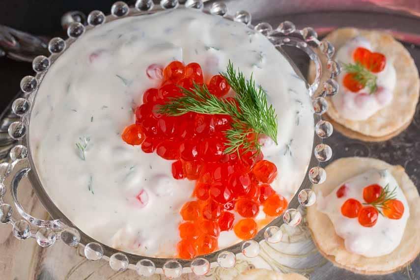 Lactose-free low FODMAP caviar dip made with salmon roe closeup