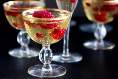 champagne gelee with raspberries & pomegranate closeup