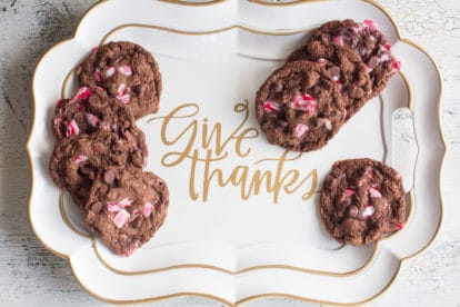 double chocolate peppermint cookies overhead on a decorative platter