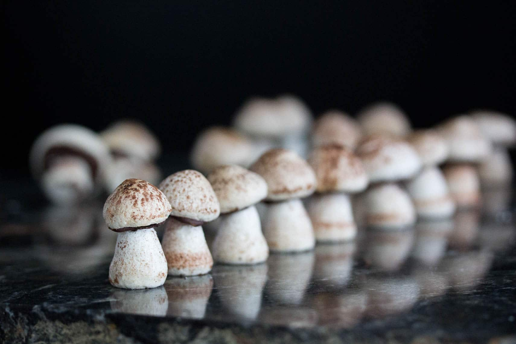 meringue mushrooms lined up