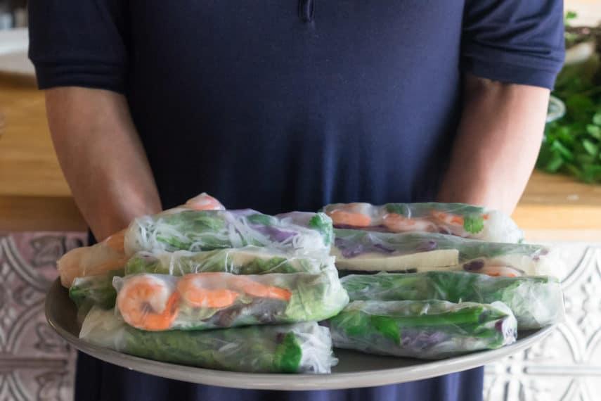 platter of summer rolls
