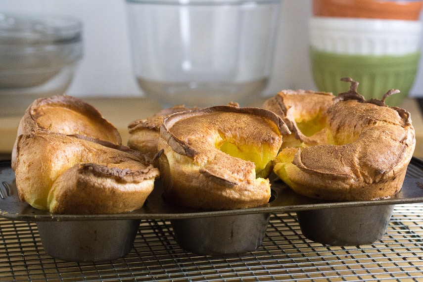 gluten-free popovers in pan fresh out of oven