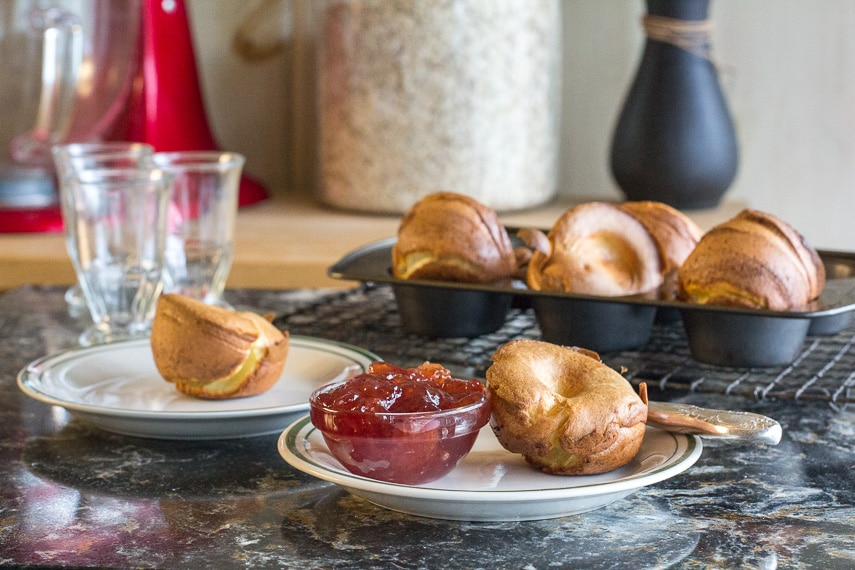 gluten-free popovers on plate with jam