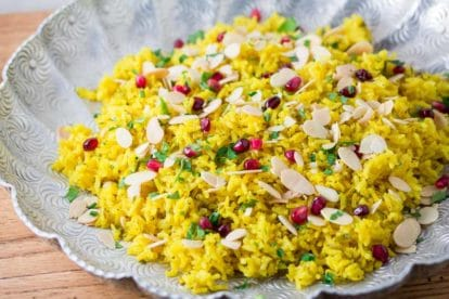 Turmeric Rice with Almonds & Pomegranate