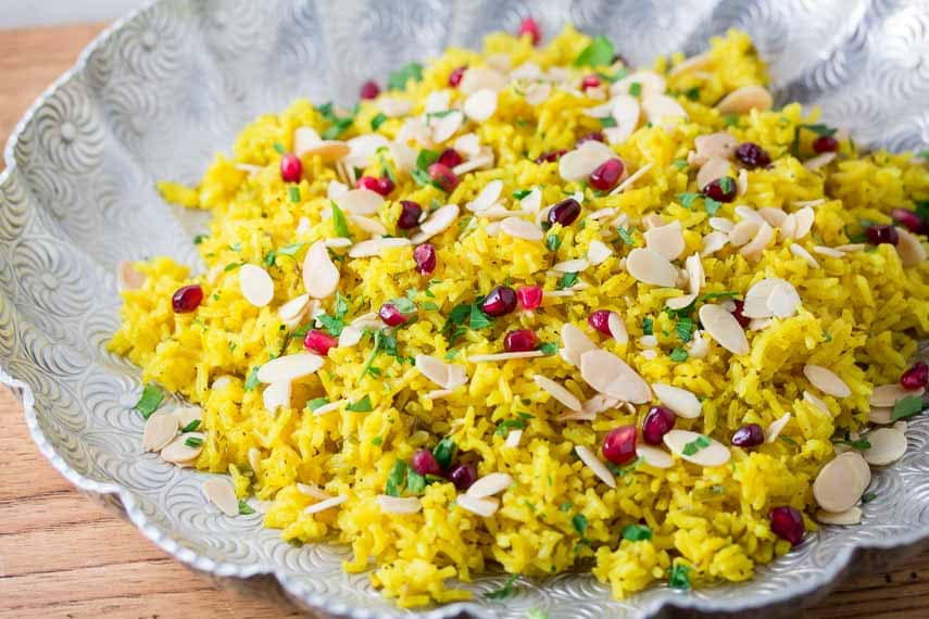 turmeric rice with almonds and pomegranate