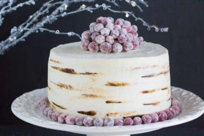 Red Velvet Cake with White Chocolate Frosting and Sugared Cranberries