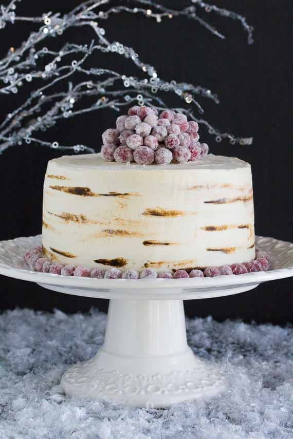 Red Velvet Cake with Sugared Cranberries & White Chocolate Frosting