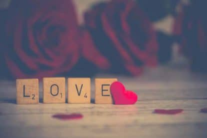 Scrabble words spelling out Love for Valentine's Day for FODMAPers