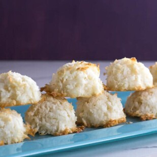 Simple Coconut Macaroons on blue plate