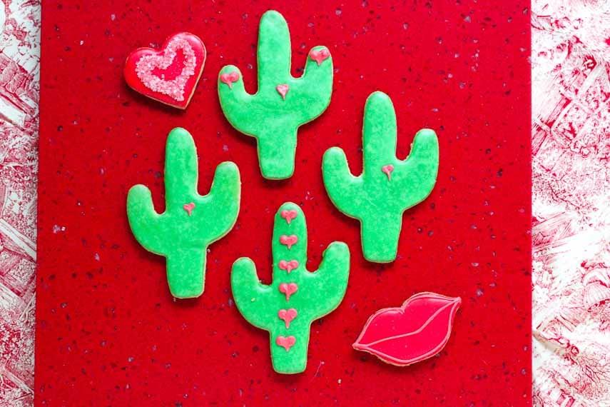 Low FODMAP, gluten-free Valentine's Day cookies, overhead shot