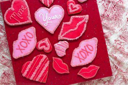 Valentine's Day cookies overhead