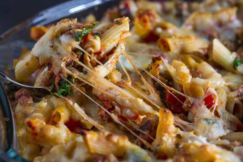 sausage, swiss chard baked ziti with gooey cheese- low FODMAP