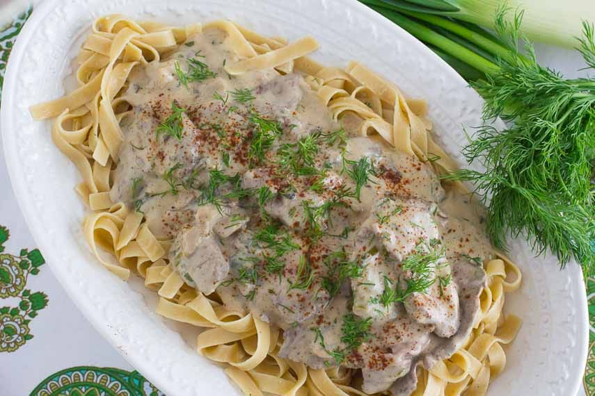 beef stroganoff on oval white platter