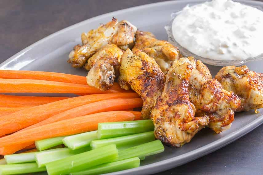 Smoky Spicy Chicken Wings with Blue Cheese Dressing