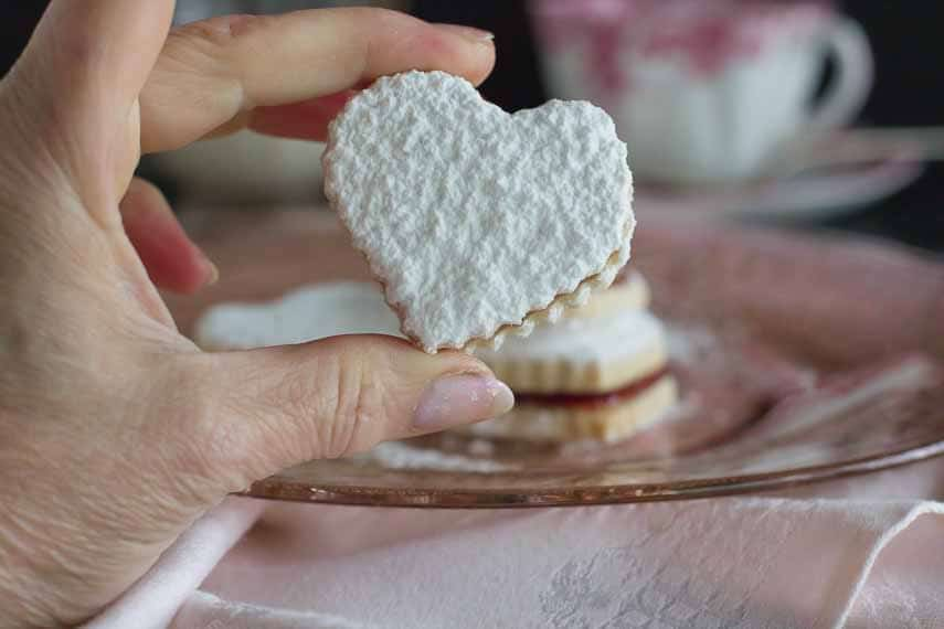 heart shaped sandwich cookie closeup