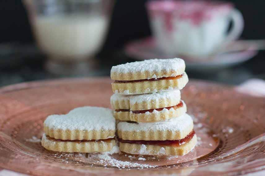 heart shaped sandwich cookies, jam seeping out