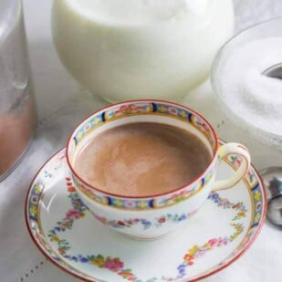 hot cocoa in a decorative porcelain cup