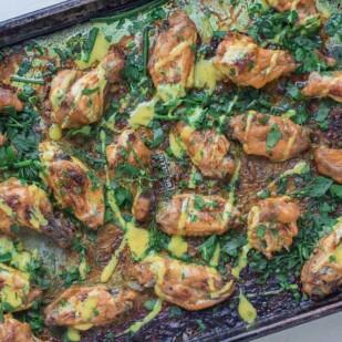 maple mustard chicken wings on roasting pan