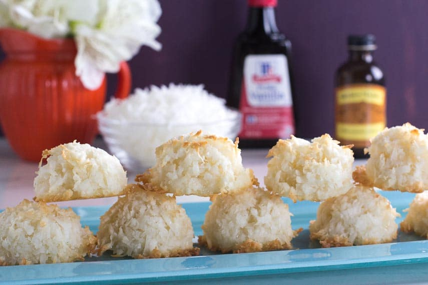 our simple coconut macaroons with ingredients in background