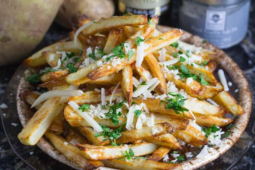 parmesan truffle oven baked fries- low FODMAP