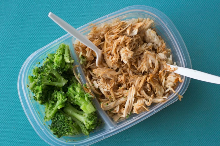 The Low FODMAP Diet On Campus- plain brocolli and tuna for lunch in a container.