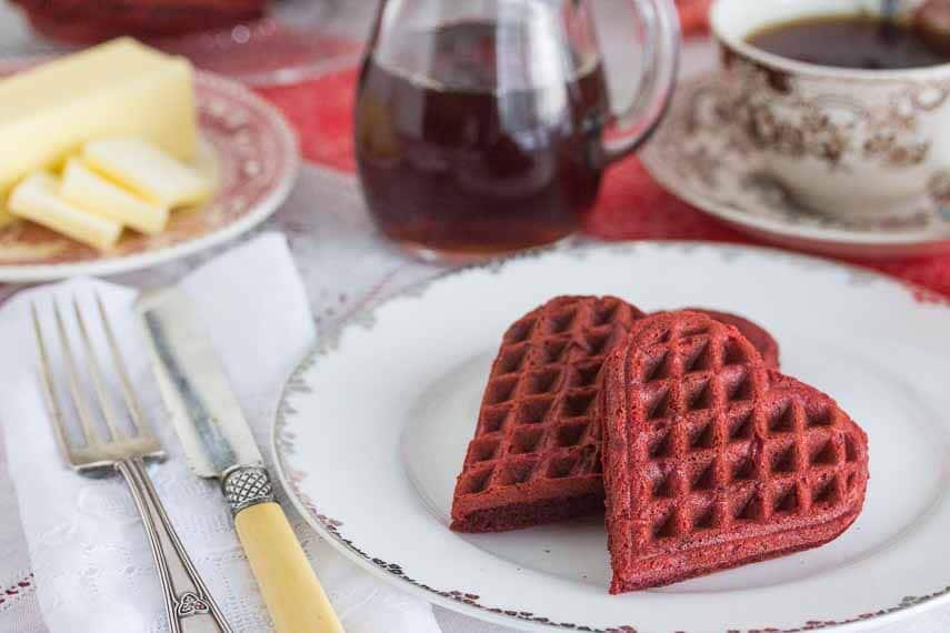 Gluten Free Low FODMAP red velvet waffles