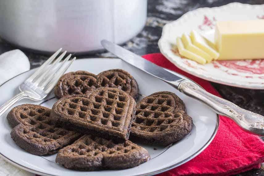 unadorned dark chocolate waffles - low fodmap and gluten free