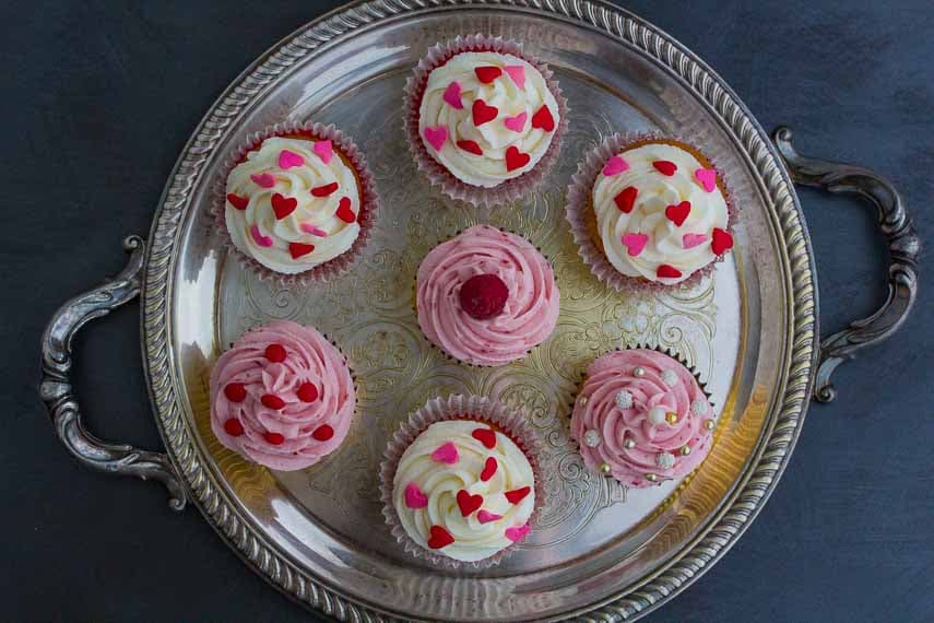 Valentine's Day cupcakes overhead