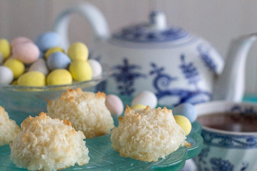 coconut macaroons with blue and white teapot in background